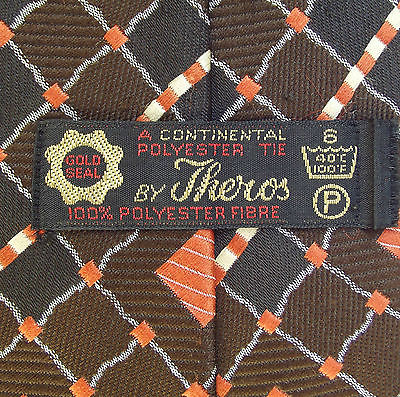 1970s kipper tie Vintage Gold Seal Theros tie brown orange CHECK woven polyester